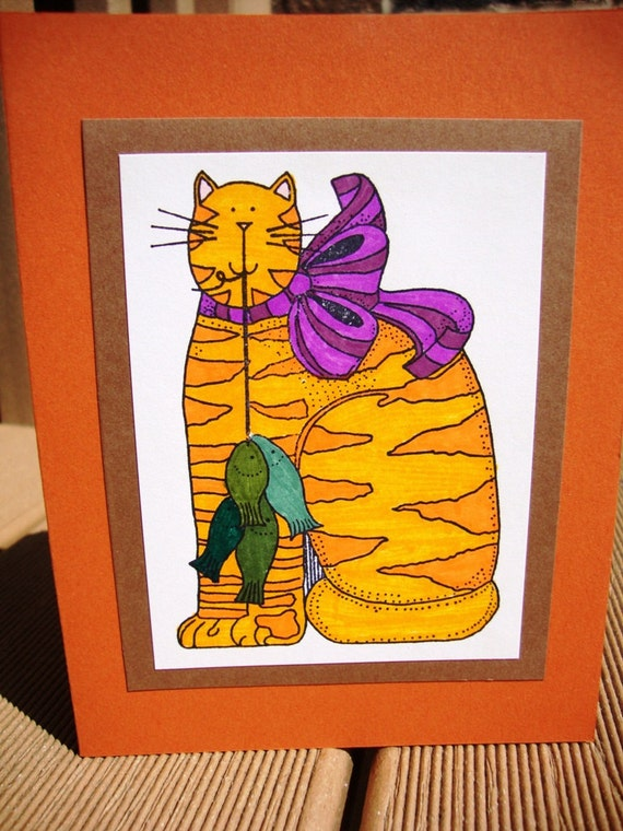 Orange Tabby Cat with Stringer of Fish - Blank Any Occasion Card - Fathers Day - Child or Adult Birthday - Friendship - Cat Lover