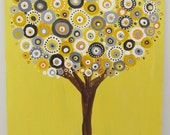 Yellow and Gray Kind of Day  Tree Painting