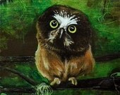 Forest Owl - Original Wood Panel Art