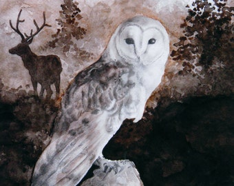 Feathers and Fog - Owl and Elk Matted Watercolor Print