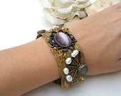 Statement Cuff Bracelet, Rustic Romantic Wide Gemstones Cuff, Bridal Jewelry for an Unusual Wedding, Gift for Bridesmaid & Mother of Bride