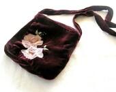 Fabric  velvet purse Floral bag, Holiday gift,  Christmas mom gift, Gift idea , Upcycled velvet bag, Boho bag , Cross body purse,