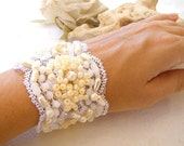 Wedding beaded Bracelet , embroidered hand made,  vintage style,