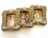 20% Off-   Wall  Decor Pictures -   3 Miniature hanging art  Pictures , Home Decor, Shabby chic Decor Dolls pictures, Gold wall  Art,