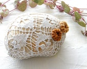 Reserved for Debbie - Crochet stones -  river pebble stone, covered with vintage weaving lace  motif, hand made.