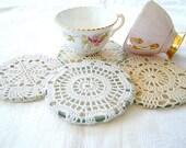 Vintage fabric white beige antique lace crochet cups coasters. 4 elegant pieces.
