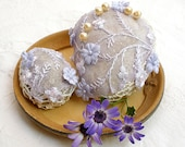 Nature decorated 2 river pebble stones, covered with lavender crochet vintage tulle, flower motif, bead, all hand made, by Mintook. - MINTOOK