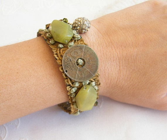 Wedding Bridal Lace Bracelet, Statement  Cuff  Bracelet,  Rustic Romantic Wide Gemstones Cuff, Bridal Jewelry for an Unusual Wedding,