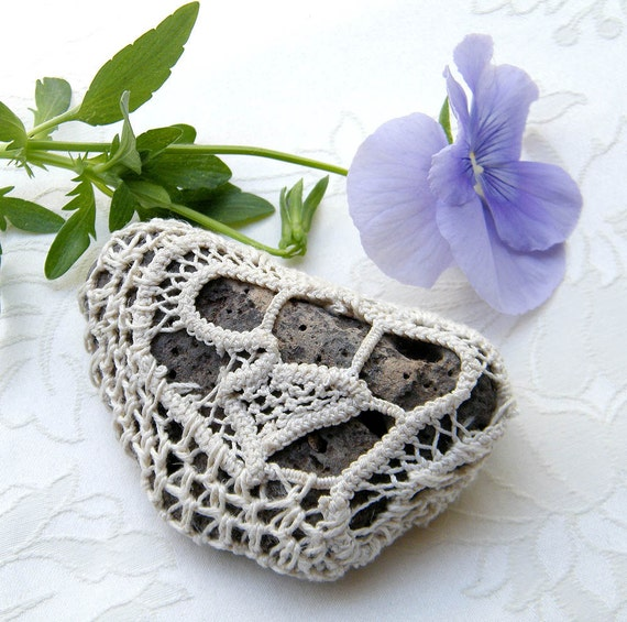 Crochet, lace stone - Nature decorated black pebble stone, covered with vintage crochet lace motif, hand made.