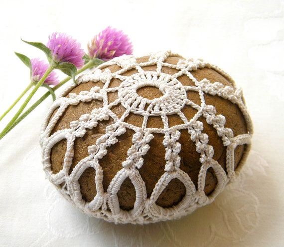 Nature decorated river pebble stone, covered with vintage crochet lace motif, hand made.