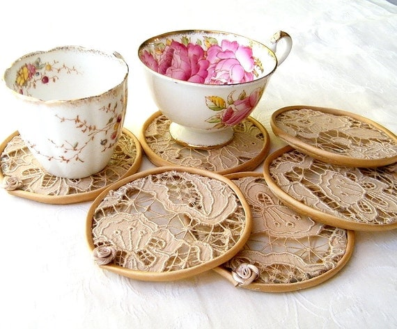 Reserved order for Michelilna-Crochet, lace - Cup Coaster set.  antique lace cups coasters. Set of 6 elegant pieces by Mintook.