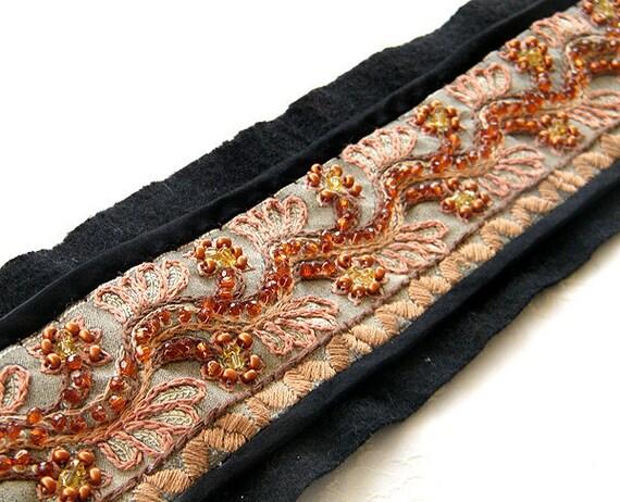20% Off- Boho Embroidery Belt, Gift idea , Shabby chic  belt, Vintage belt embroidery style, Felted belt , Casual belt,  Oak unique belt,