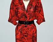 Vintage 90s LADY IN RED leaf print shirt dress - L