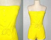 Vintage 80s romper SUMMER SUNSHINE bright yellow strapless terry beach romper - S