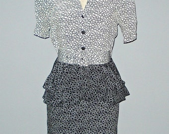 Vintage black & white PEPLUM SECRETARY dress - XS/S