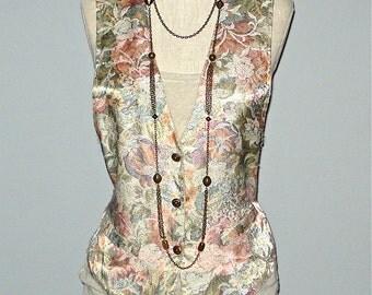 Vintage 1990's FLORAL TAPESTRY hipster vest - M/L