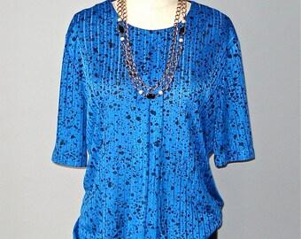 Vintage 80s blouse BLUE SPLATTER indie hipster oversized slouch top - M/L