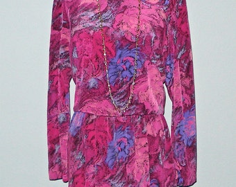 Vintage rosy PINK ABSTRACT FLORAL print dress - M/L