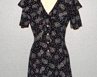 Vintage 90s romper black & white grunge floral shorts - M