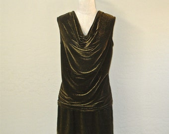 Vintage 80s glam two piece black METALLIC GOLD cowl neck top and mini skirt - M