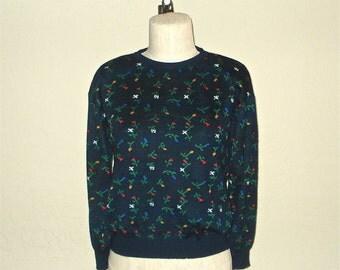 SALE - Vintage 80s sweater LITTLE FLOWERS navy long sleeve knit - S