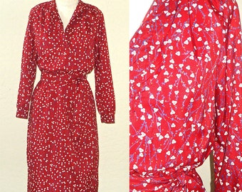 Reserved for Natalia - Vintage 80s dress RED FLORAL print long sleeve shirtdress - S/M