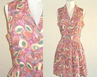 Vintage 90s dress JUST PEACHY sleeveless summer shirtdress - S / M