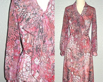 Vintage 70s boho dress set PINK FLORAL two-piece ascot top and skirt - S/M