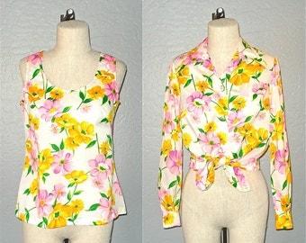 Vintage 60s blouse set WHITE & BRIGHT floral print tank and shirt - M