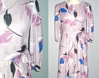 SALE - Vintage 80s dress FLORAL secretary day dress - M/L