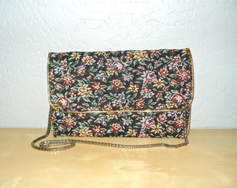 Vintage purse FLORAL TAPESTRY small envelope clutch with metal chain
