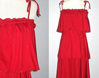 Vintage 70s dress CRANBERRY TIERED sleeveless sundress - M
