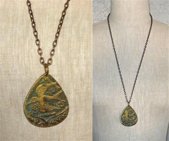 Vintage 70s necklace BIRD & ARCHER pendant and chain