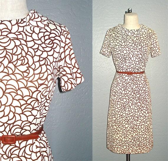 Vintage 60s mod dress CHOCOLATE MOONDROPS shift dress - M
