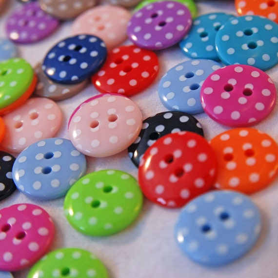 Spotty Button Mixture X 60. 5 x12 beautiful colours- Small 15mm.