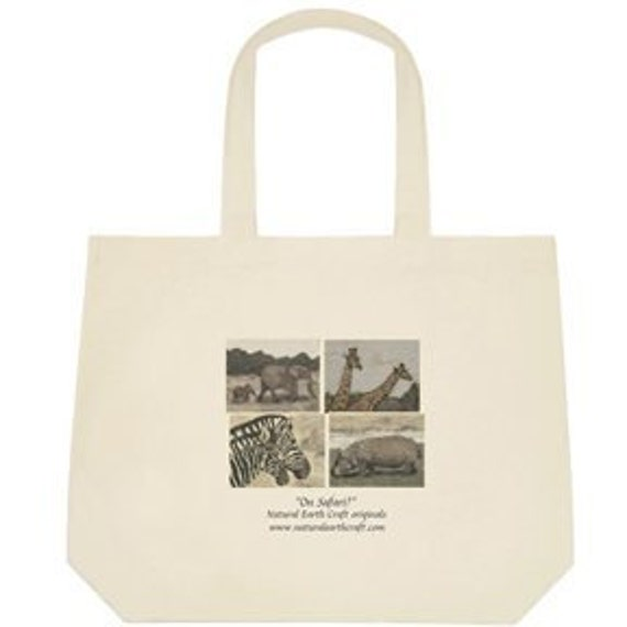 On Safari Deluxe tote bag printed with sand paintings of African animals elephants giraffes zebras and a hipo