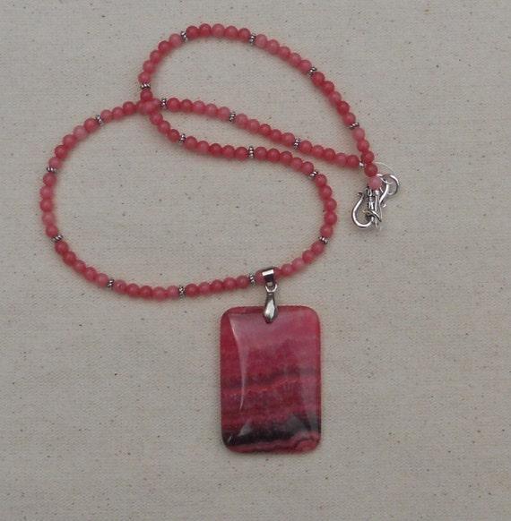Red pink rhodochrosite necklace stone necklace semiprecious stone jewelry J361