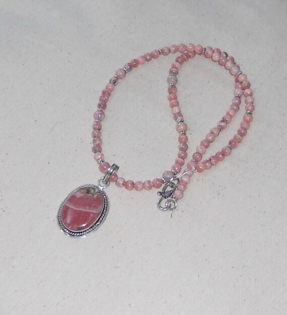 Pink rhodochrosite necklace stone necklace semiprecious stone jewelry J390