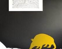 ANIMAL Tatoo WALL DECAL : Small Tatoo sniffing around for food, ideal for kids bedroom, nursery