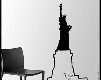 NYC - WALL DECAL : Liberty Statue in New York 4th of July Vinyl Sticker, house decoration, freedom