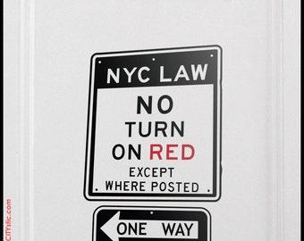 NYC : WALL DECAL - No Turn on Red Roadsign, One Way Decal, sticker, nursery, kid, New York,