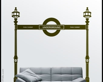 On Sale LONDON : WALL DECAL - Underground Tube Entrance at Oxford Circus. Uk icon sticker, royal style, vinyl, English decor