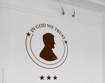 USA : WALL DECAL - 'In God we Trust' Money Coin with Abraham Lincoln.