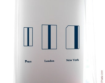 GRAPHIC WALL DECAL :  Paris, London, New York City. World Subway Metro tickets comparison
