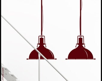 Industry LAMPS - WALL DECAL : Industrial Warehouse style Pendant Lamps, set of two