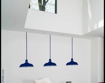 LAMP WALL DECAL : Industrial Aluminium Warehouse Pendant Lamps, set of three. Vinyl, sticker, bulb, reflections