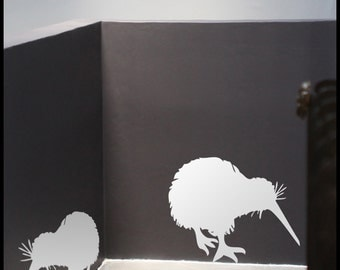 Animal New ZEALAND : Two Kiwi birds eating - WALL DECAL for kids, vinyl, wall decor, children deco