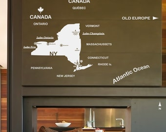 NEW YORK State - Wall DECAL : Map of New York with big cities, Liberty, Albany, Niagara Falls, Ocean