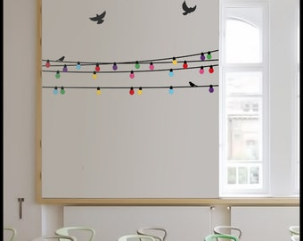 COLOR LAMP DECAL : 5 Strings of fairy lights as in a garden party. Multi color bulb sticker, birds, decoration