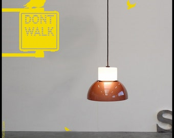 NYC WALL DECAL : Don't Walk Sign Light for pedestrian with pigeon. Free one way sign sticker, vinyl, wall decor